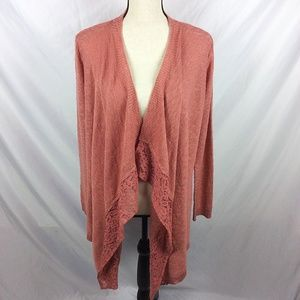Pink Republic Draped Cardigan Sweater Lace Edges